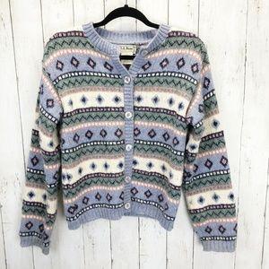 *LL Bean VTG Cardigan Fair Isle Sweater Sz S